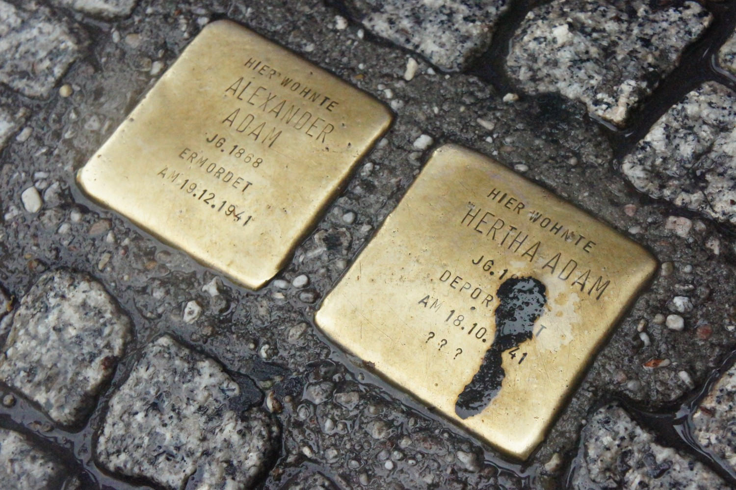 Dashing, head down, through a thunderstorm, I saw these: plaques marking the homes of Jewish residents who were either killed or taken to extermination camps.