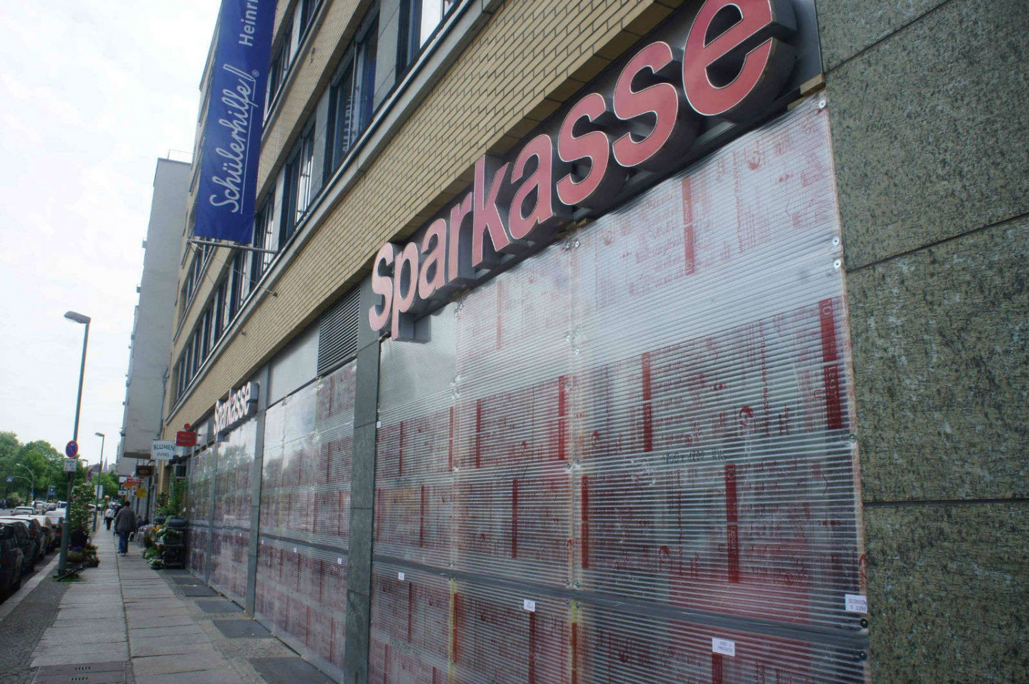 A boarded-up Sparkasse bank