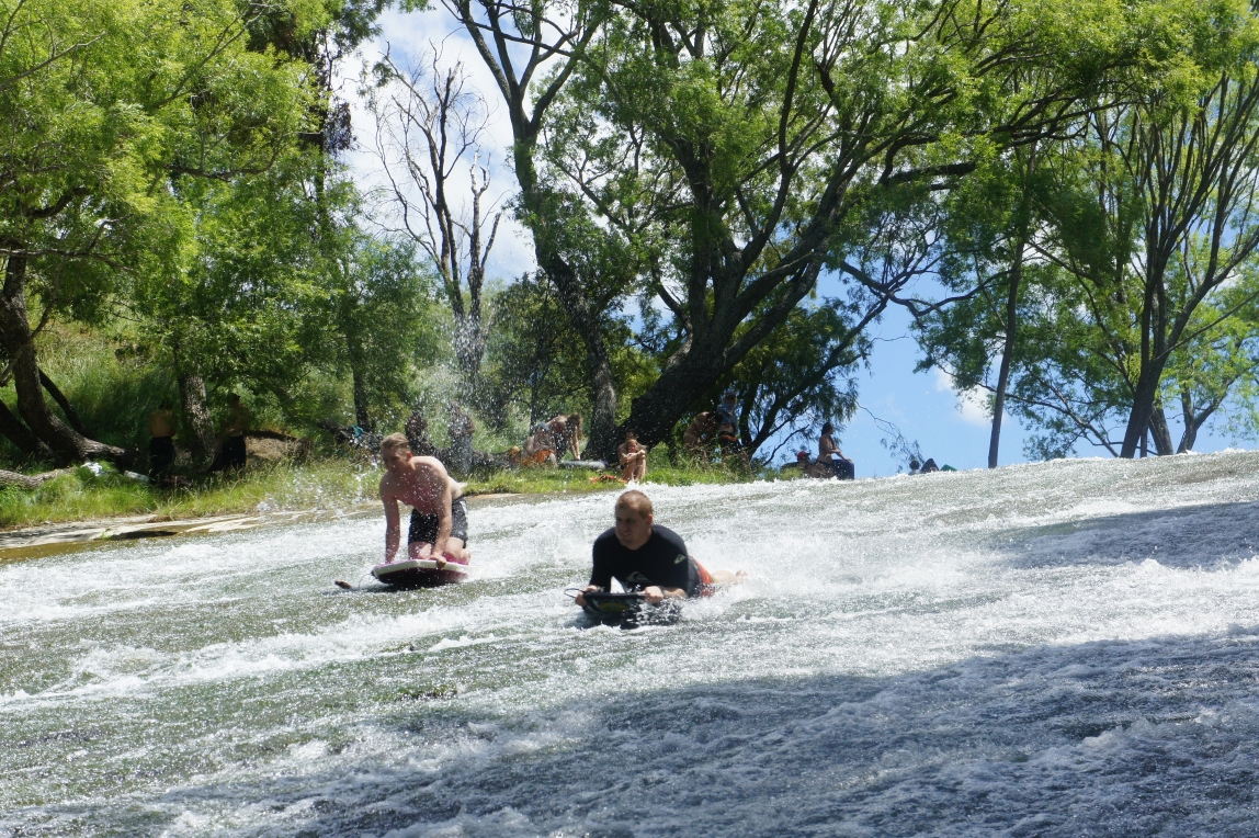 Cooling down at the Rere Rockslide, in the hills near Gisborne.