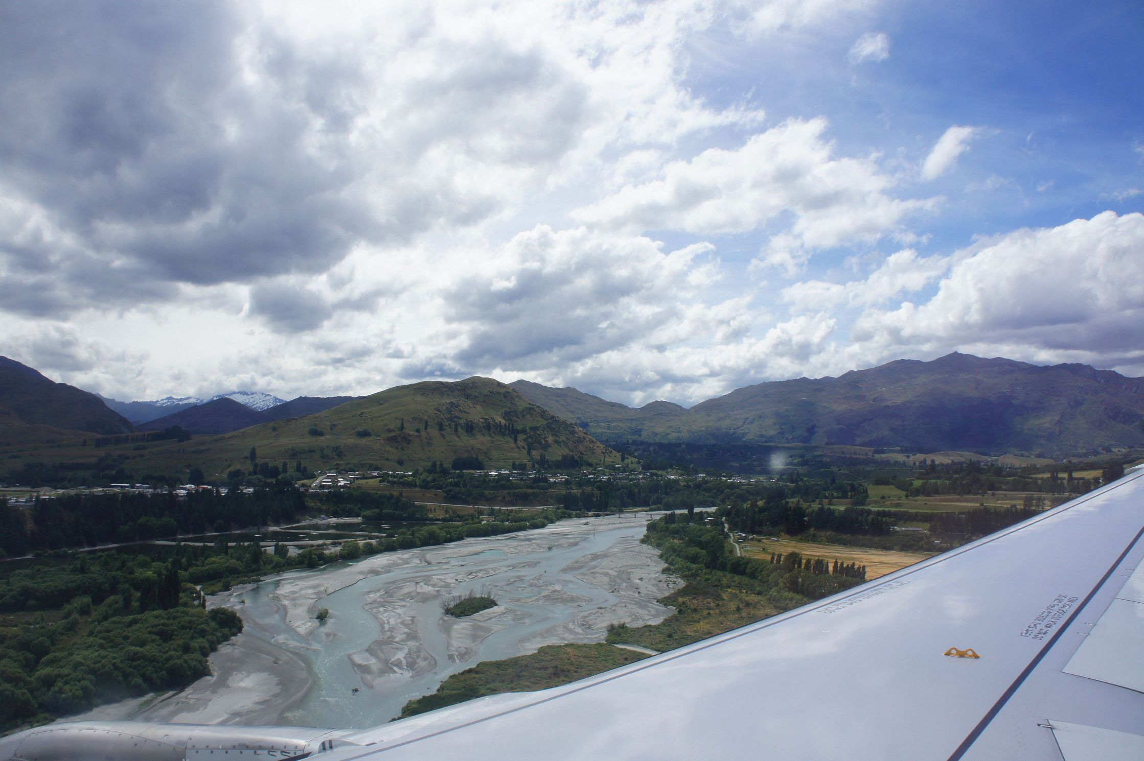 The Shotover River just before landing