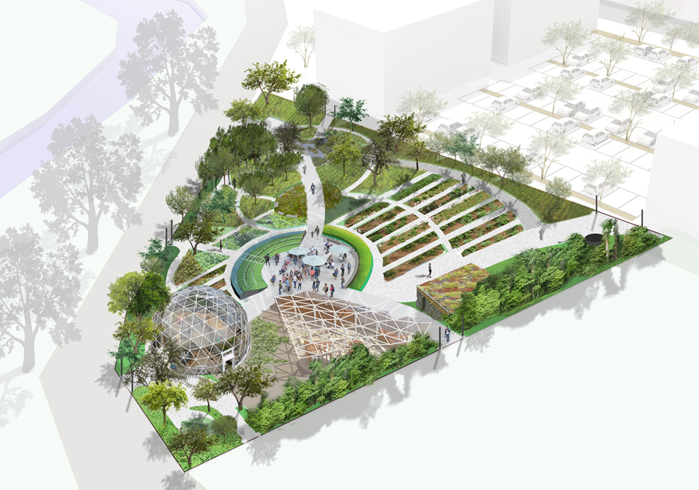 An artist's impression of the Ōtākaro Orchard edible park