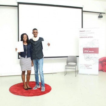 Developers in Vogue co-founders Ivy Barley and Maxwell Cofie in Berlin after winning the global #eskills4girls hackathon